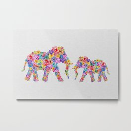 Floral Elephants, Nursery Decor Metal Print