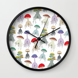 Magic Mushroom Roots Butts Wall Clock
