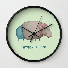 Hipster Hippo Wall Clock