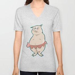 Pig In Tutu Unisex V-Neck