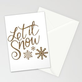 Elegant Let It Snow Text Stationery Cards