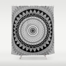 Black and White Mandala Two Shower Curtain