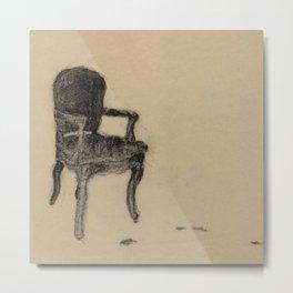 Departed Black Pastel Drawing of Chair Metal Print