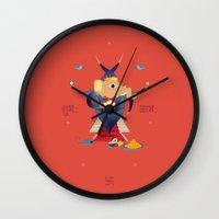 hindu Wall Clocks featuring Ganesha: Hindu God of good luck by IDigType