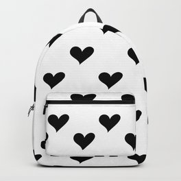Retro Hearts Pattern Black White Backpack