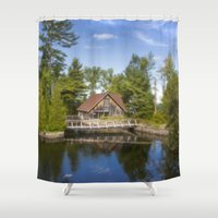 michigan Shower Curtains featuring Michigan Cottage by davehare