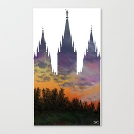 412fc0518481 Salt Lake Temple Morning Sky Silhouette Canvas Print
