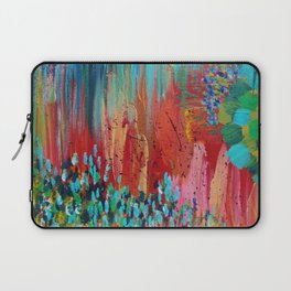 REVISIONED RETRO - Bright Bold Red Abstract Acrylic Colorful Painting 70s Vintage Style Hip 2012 Laptop Sleeve