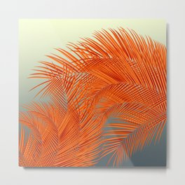 Palm Leaves, Orange Metal Print