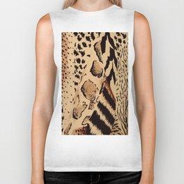 wildlife brown black tan cheetah leopard safari animal print Biker Tank