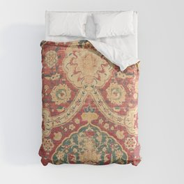 Peonies Kashan I // 16th Century Distressed Colorful Red Tan Light Blue Ornate Accent Rug Pattern Comforters