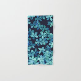 Hand Painted Floral Pattern in Teal & Navy Blue Hand & Bath Towel