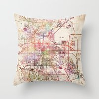 denver Throw Pillows featuring Denver by MapMapMaps.Watercolors