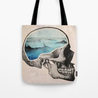 skull Tote Bags featuring Brain Waves by Chase Kunz