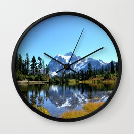 Mount Shuksan reflected on Picture Lake Wall Clock