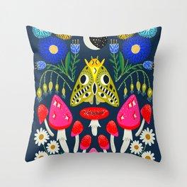 Moth Moon - moon art, witchy art, mushroom art, magic mushrooms, groovy art, daisies Throw Pillow
