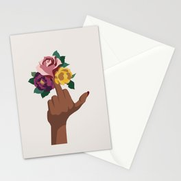 Middle finger with flowers Stationery Cards