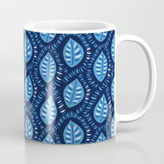 Beautiful Decorative Blue Leaves Pattern Mug