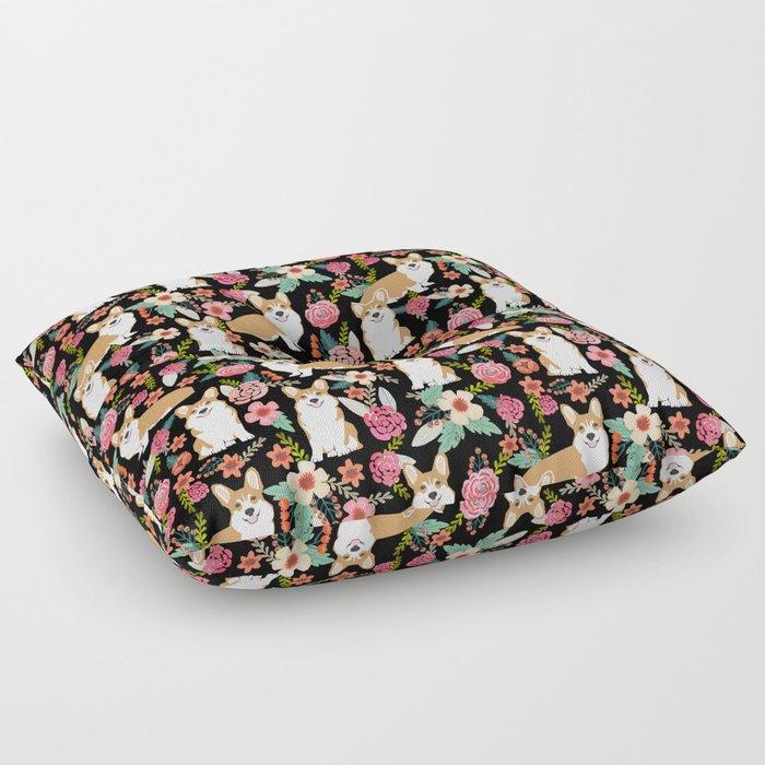 Corgi Florals - vintage corgi and florals gift great for corgi lovers, corgi gift, corgi florals, co Floor Pillow