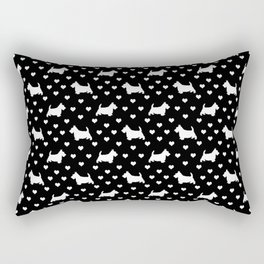 Cute White Scottish Terriers (Scottie Dogs) & Hearts on Black Background Rectangular Pillow