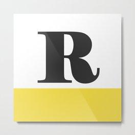 Monogram Letter R-Pantone-Buttercup Metal Print