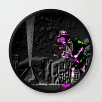 fear and loathing Wall Clocks featuring Fear and Loathing EDM by Rishi Parikh