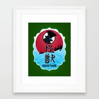 kaiju Framed Art Prints featuring Kaiju Sake by zerobriant