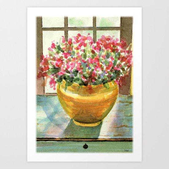 flowers in golden vase Art Print
