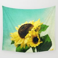 sunflowers Wall Tapestries featuring sunflowers by Sylvia Cook Photography
