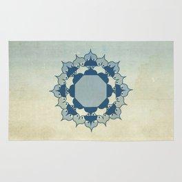 Lotus Mandala Light Blue Center Sand Water Wash Rug