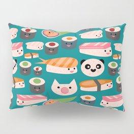 Kawaii sushi teal Pillow Sham