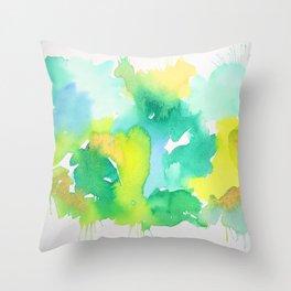 Abstract Green and Yellow Aqua Splash Watercolor Throw Pillow