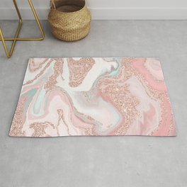 Modern rose gold glitter coral gray pastel marble marbling effect pattern Rug