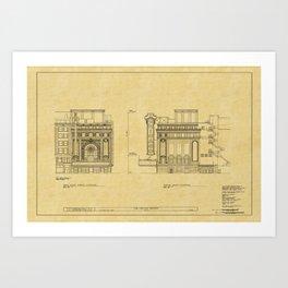 Chicago Theatre Blueprint 2 Art Print