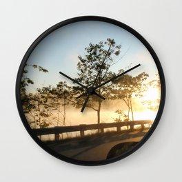 Sunrise over the lake Wall Clock