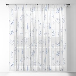 Wildflowers in blue Sheer Curtain