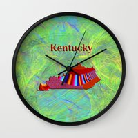 kentucky Wall Clocks featuring Kentucky Map by Roger Wedegis
