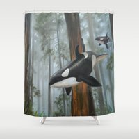 giants Shower Curtains featuring Giants Among Giants by Jason Pierce