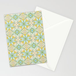 Yellow Lisbon Tile Geometric Print Stationery Cards