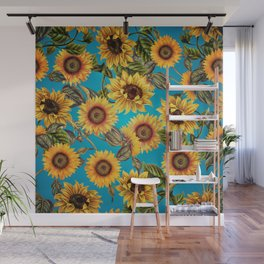 Vintage & Shabby Chic - Sunflowers on Turqoise Wall Mural