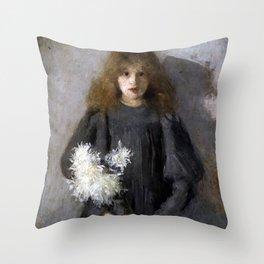 Boznańska-Girl with chrysanthemums Throw Pillow