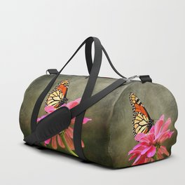 Monarch Butterfly and Pink Zinnia Duffle Bag