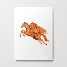 Headless Horseman Pumpkin Head Drawing Metal Print