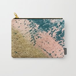 River: a minimal, abstract mixed-media piece in pink, teal and gold Carry-All Pouch