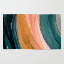 Breathe: a vibrant bold abstract piece in greens, ochre, and pink Rug