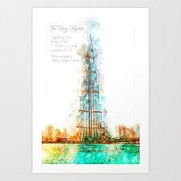 Burj Khalifa, Dubai, Aquarell Art Print