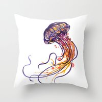 jellyfish Throw Pillows featuring Jellyfish by Sam Nagel