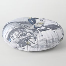 Nathaniel Currier - Washington Crossing the Delaware - Evening Previous to the Battle of Trenton, December 25th, 1776 Floor Pillow