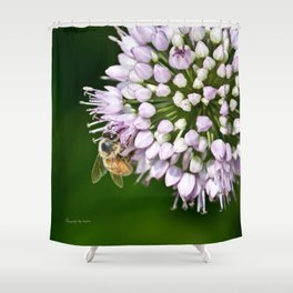 Honey Bee And Lavender Flower Shower Curtain