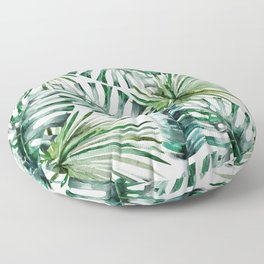Tropical forest green white watercolor monstera leaves Floor Pillow
